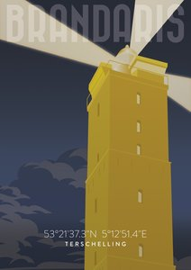 Poster Brandaris bij nacht